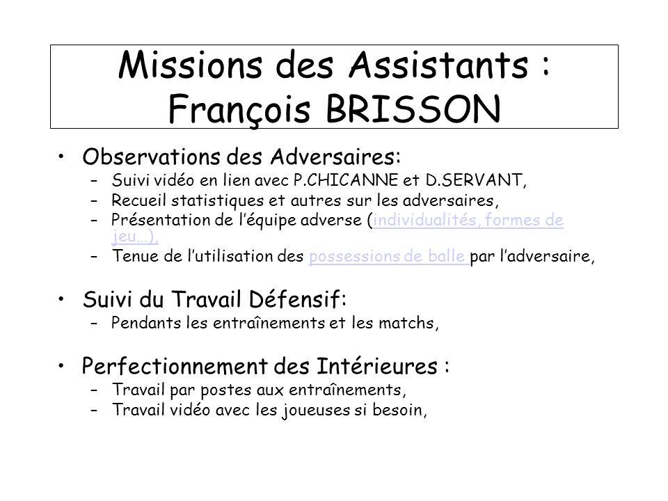 Missions des Assistants : François BRISSON