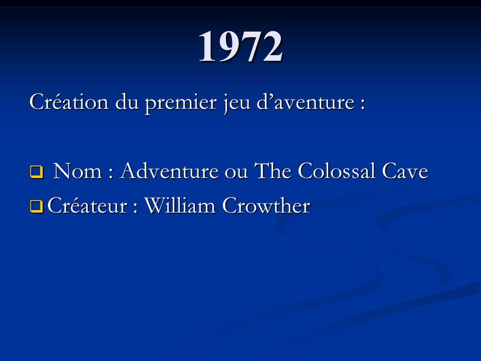 1972 Création du premier jeu d'aventure :