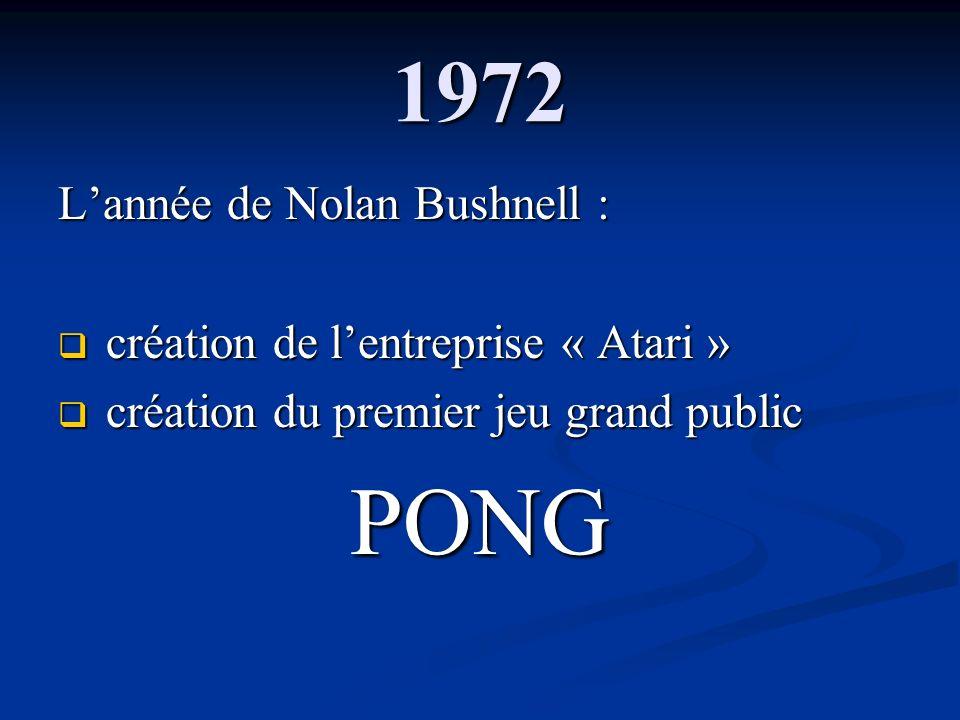 PONG 1972 L'année de Nolan Bushnell :