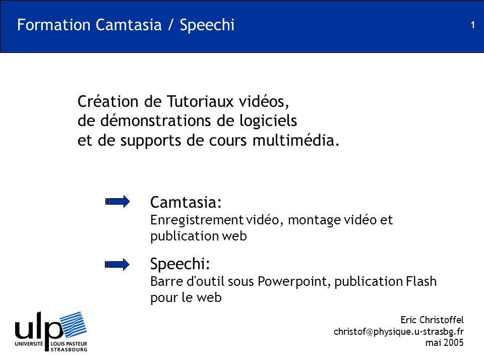 Formation Camtasia / Speechi