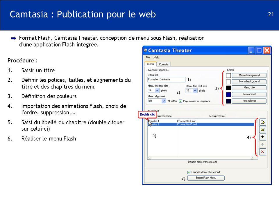 Camtasia : Publication pour le web