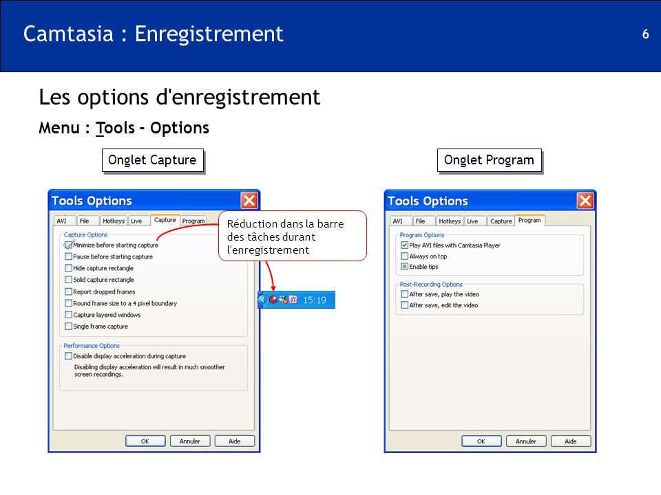 Camtasia : Enregistrement