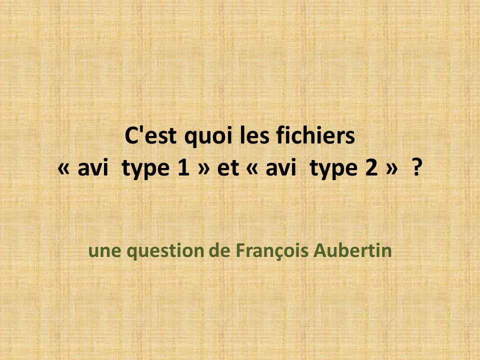 C est quoi les fichiers « avi type 1 » et « avi type 2 »