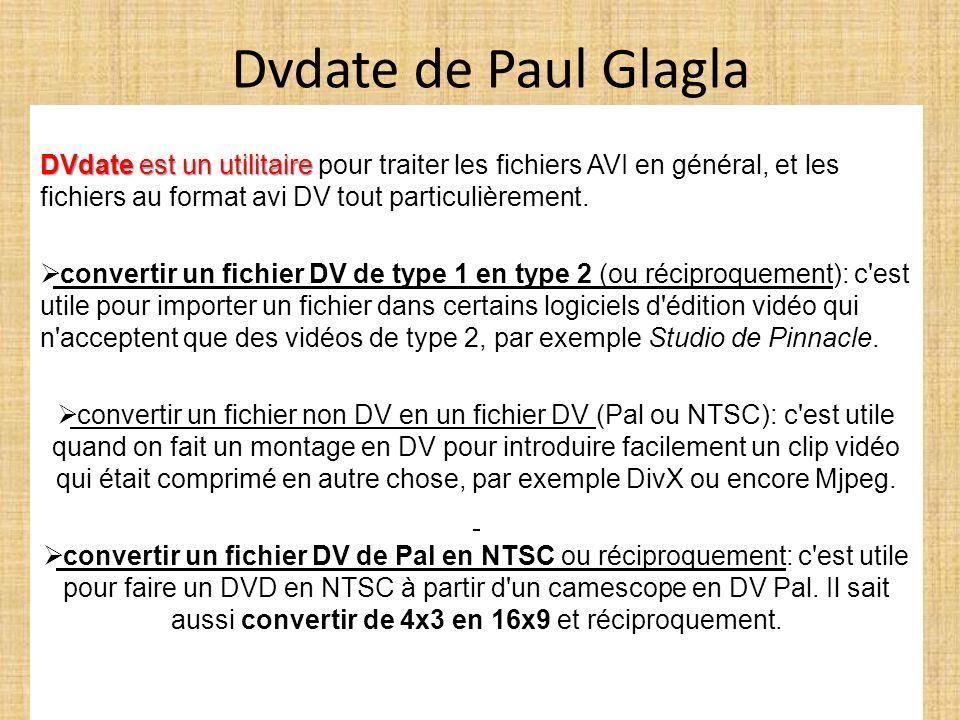 Dvdate de Paul GlaglaDVdate est un utilitaire pour traiter les fichiers AVI en général, et les fichiers au format avi DV tout particulièrement.