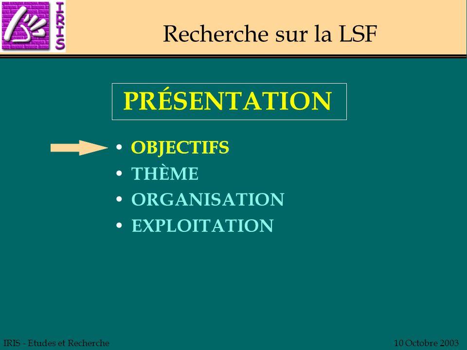 PRÉSENTATION Recherche sur la LSF OBJECTIFS OBJECTIFS THÈME