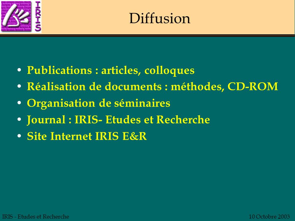Diffusion Publications : articles, colloques