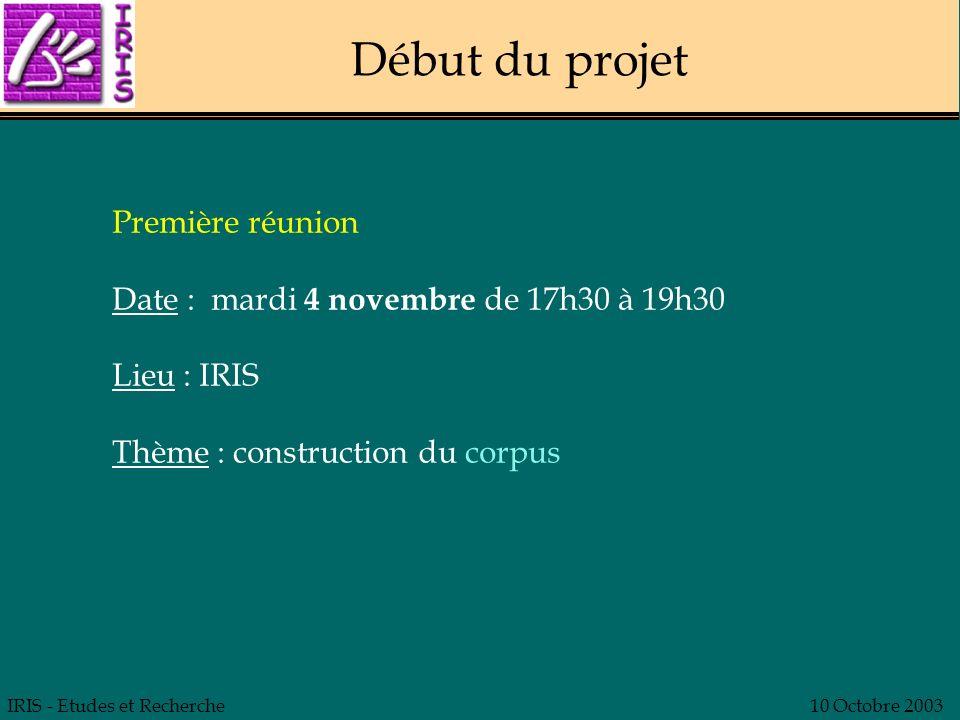 Début du projet Première réunion