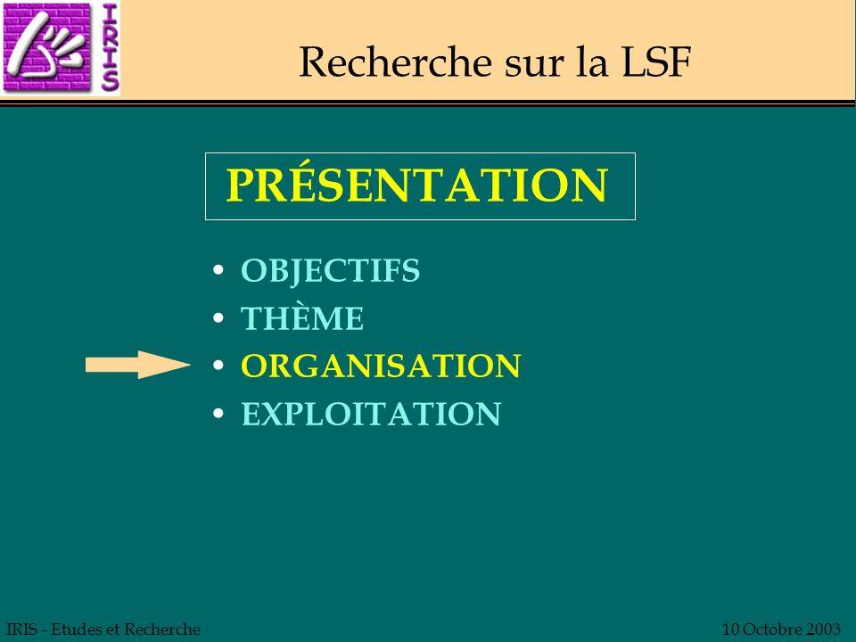 PRÉSENTATION Recherche sur la LSF OBJECTIFS THÈME ORGANISATION