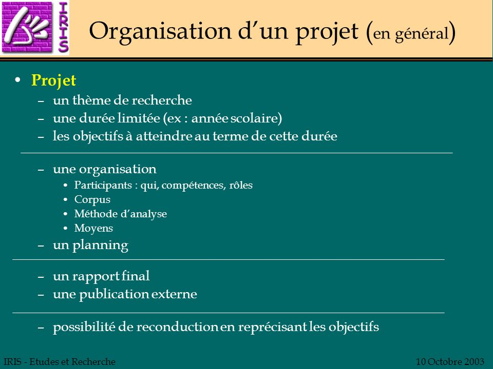Organisation d'un projet (en général)