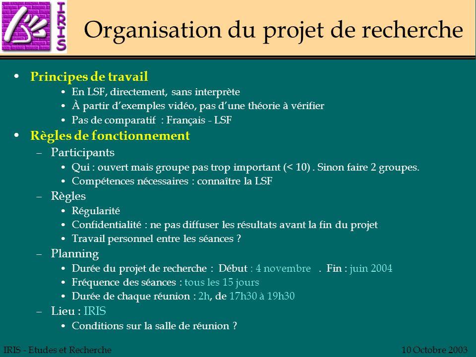Organisation du projet de recherche
