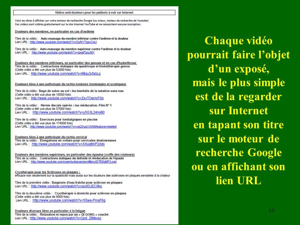 Chaque vidéo pourrait faire l'objet d'un exposé, mais le plus simple est de la regarder sur Internet en tapant son titre sur le moteur de recherche Google ou en affichant son lien URL