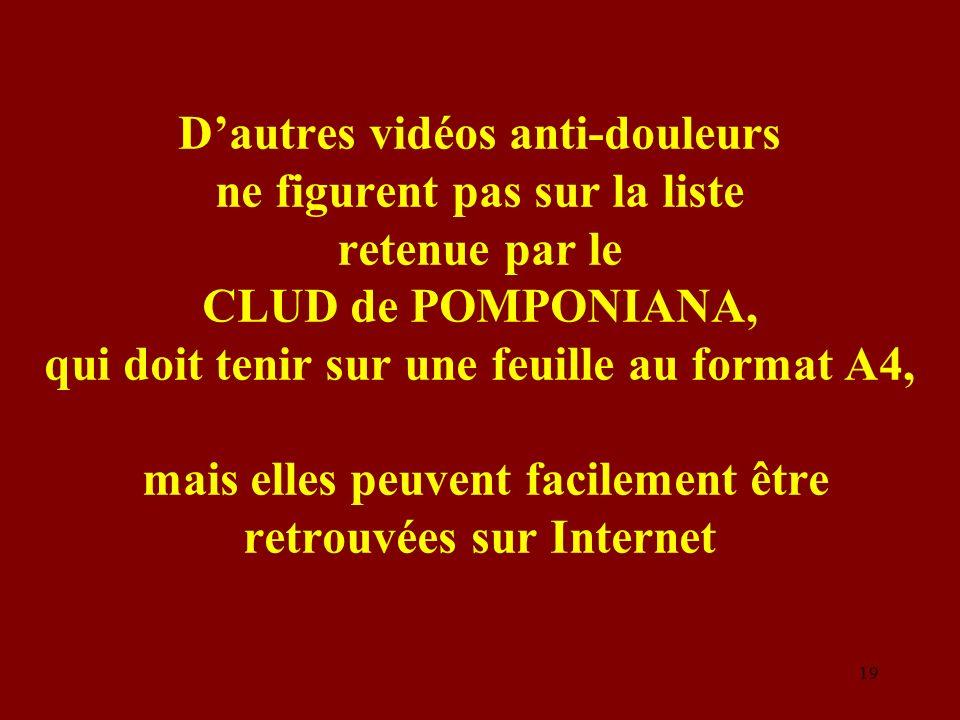 D'autres vidéos anti-douleurs ne figurent pas sur la liste retenue par le CLUD de POMPONIANA, qui doit tenir sur une feuille au format A4, mais elles peuvent facilement être retrouvées sur Internet