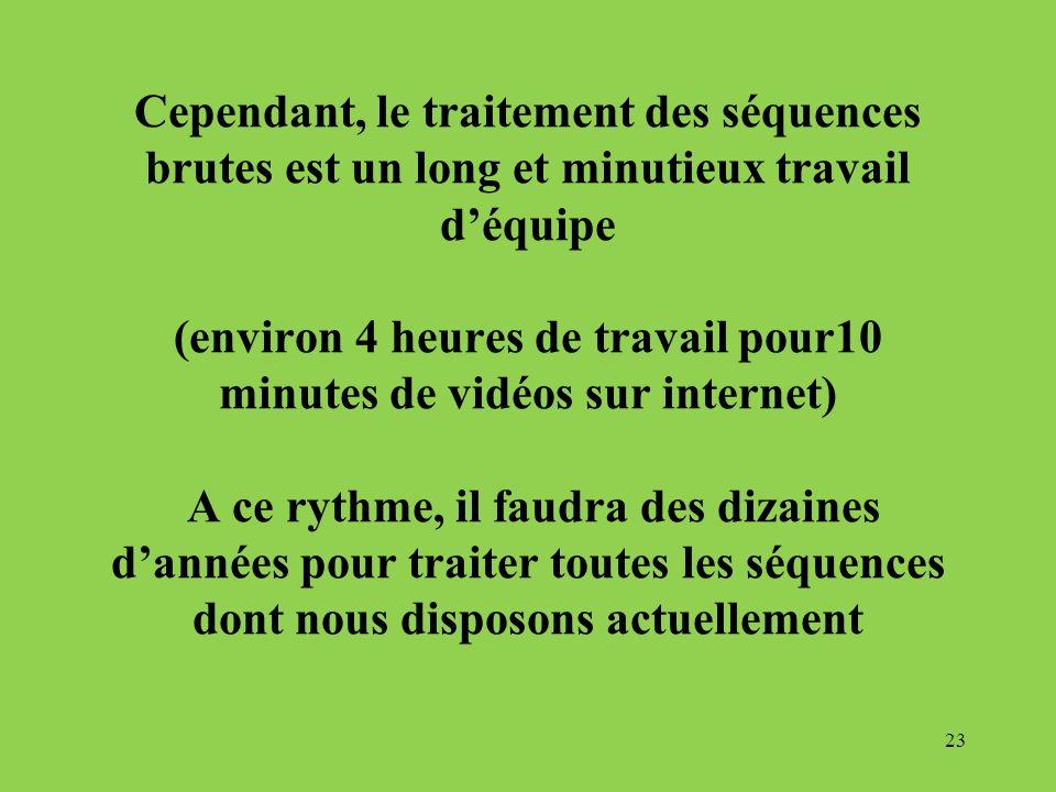 Cependant, le traitement des séquences brutes est un long et minutieux travail d'équipe (environ 4 heures de travail pour10 minutes de vidéos sur internet) A ce rythme, il faudra des dizaines d'années pour traiter toutes les séquences dont nous disposons actuellement