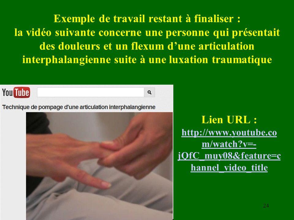 Exemple de travail restant à finaliser : la vidéo suivante concerne une personne qui présentait des douleurs et un flexum d'une articulation interphalangienne suite à une luxation traumatique