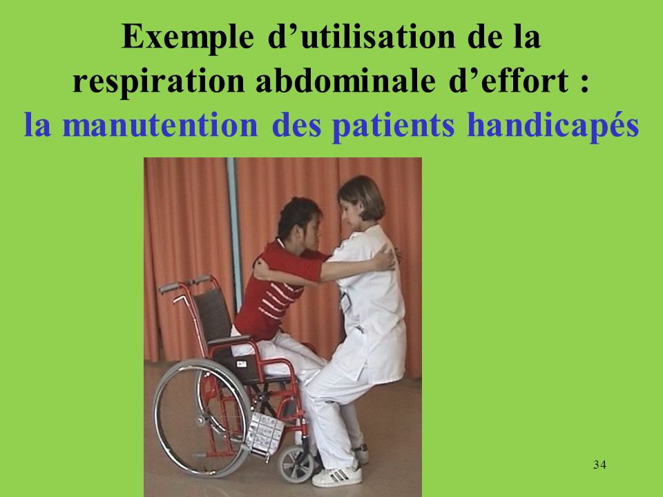 Exemple d'utilisation de la respiration abdominale d'effort : la manutention des patients handicapés