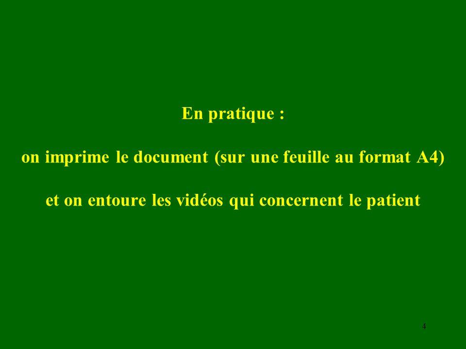 En pratique : on imprime le document (sur une feuille au format A4) et on entoure les vidéos qui concernent le patient