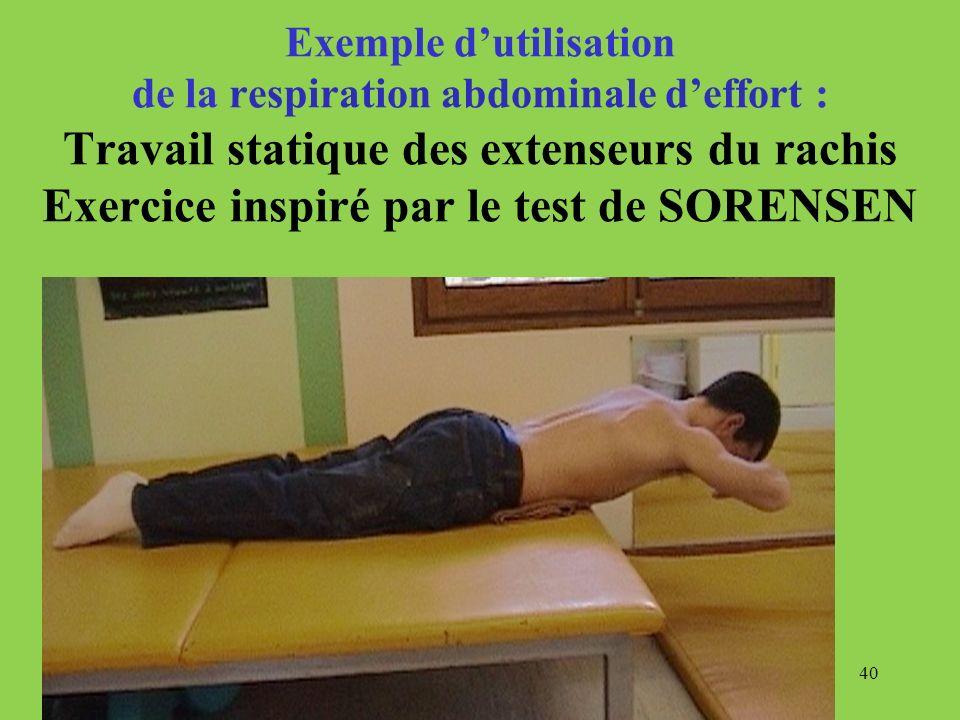 Exemple d'utilisation de la respiration abdominale d'effort : Travail statique des extenseurs du rachis Exercice inspiré par le test de SORENSEN