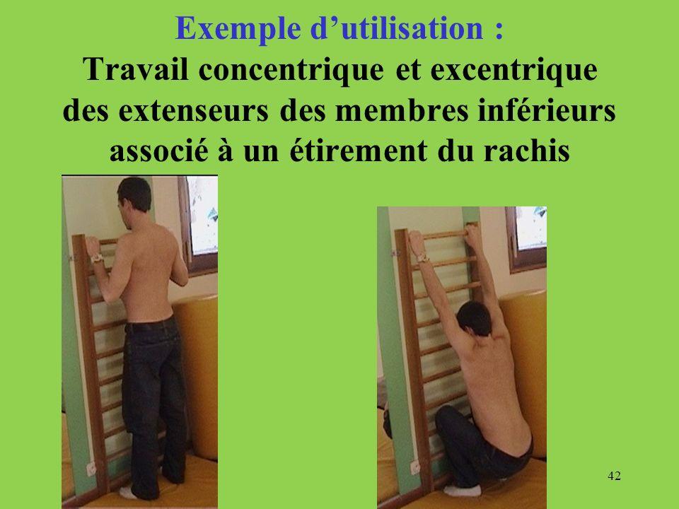 Exemple d'utilisation : Travail concentrique et excentrique des extenseurs des membres inférieurs associé à un étirement du rachis