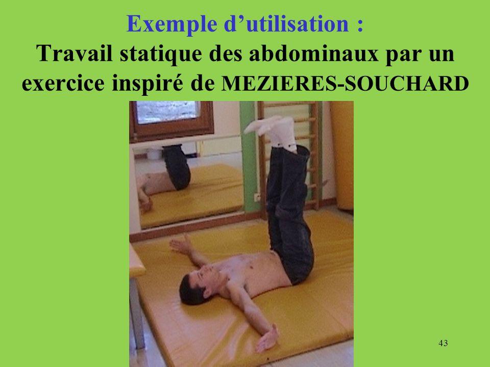 Exemple d'utilisation : Travail statique des abdominaux par un exercice inspiré de MEZIERES-SOUCHARD