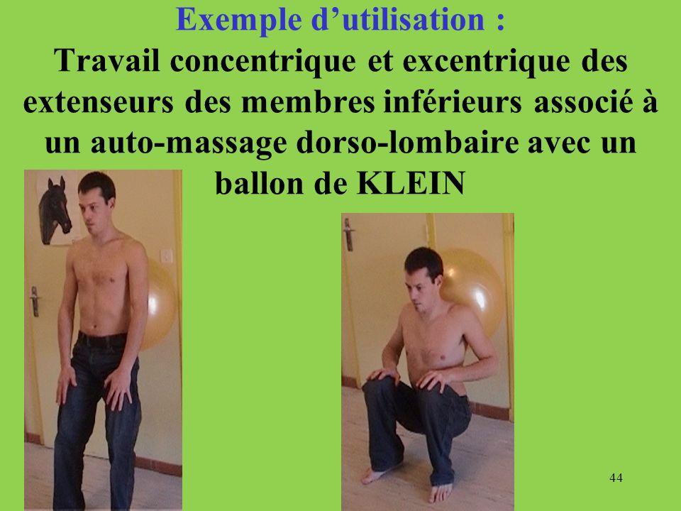Exemple d'utilisation : Travail concentrique et excentrique des extenseurs des membres inférieurs associé à un auto-massage dorso-lombaire avec un ballon de KLEIN