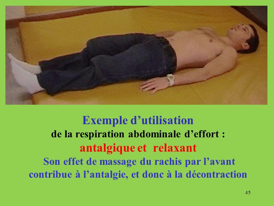 Exemple d'utilisation de la respiration abdominale d'effort : antalgique et relaxant Son effet de massage du rachis par l'avant contribue à l'antalgie, et donc à la décontraction