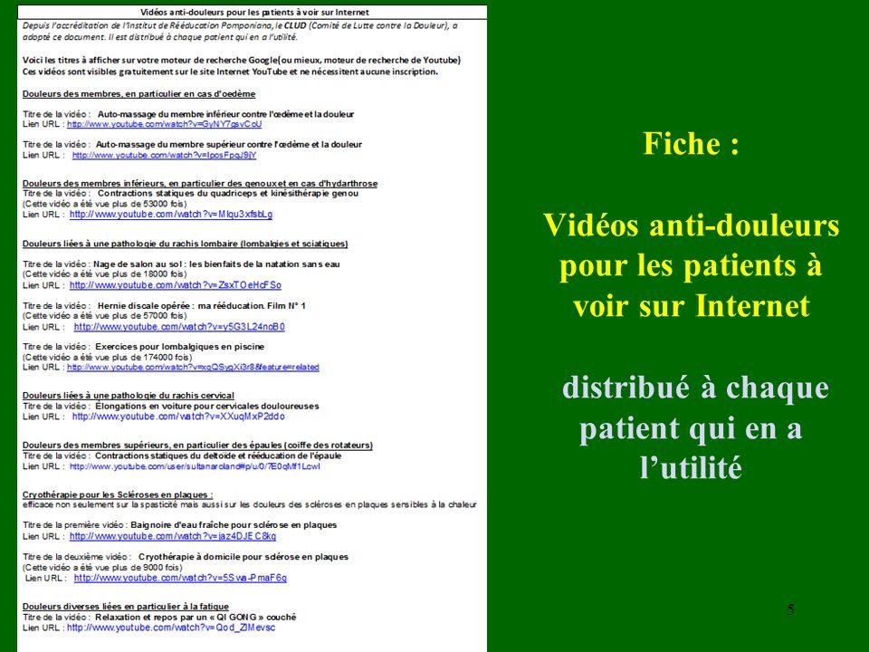 Fiche : Vidéos anti-douleurs pour les patients à voir sur Internet distribué à chaque patient qui en a l'utilité