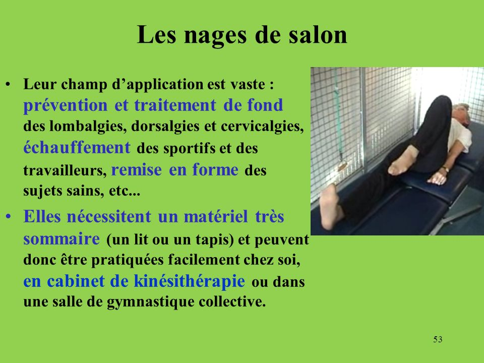 Les nages de salon