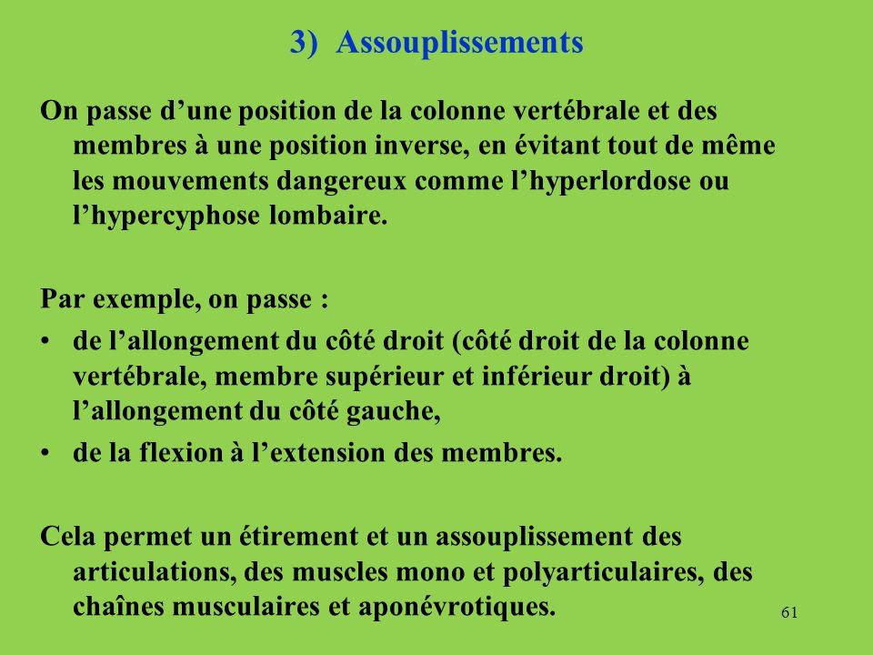 3) Assouplissements