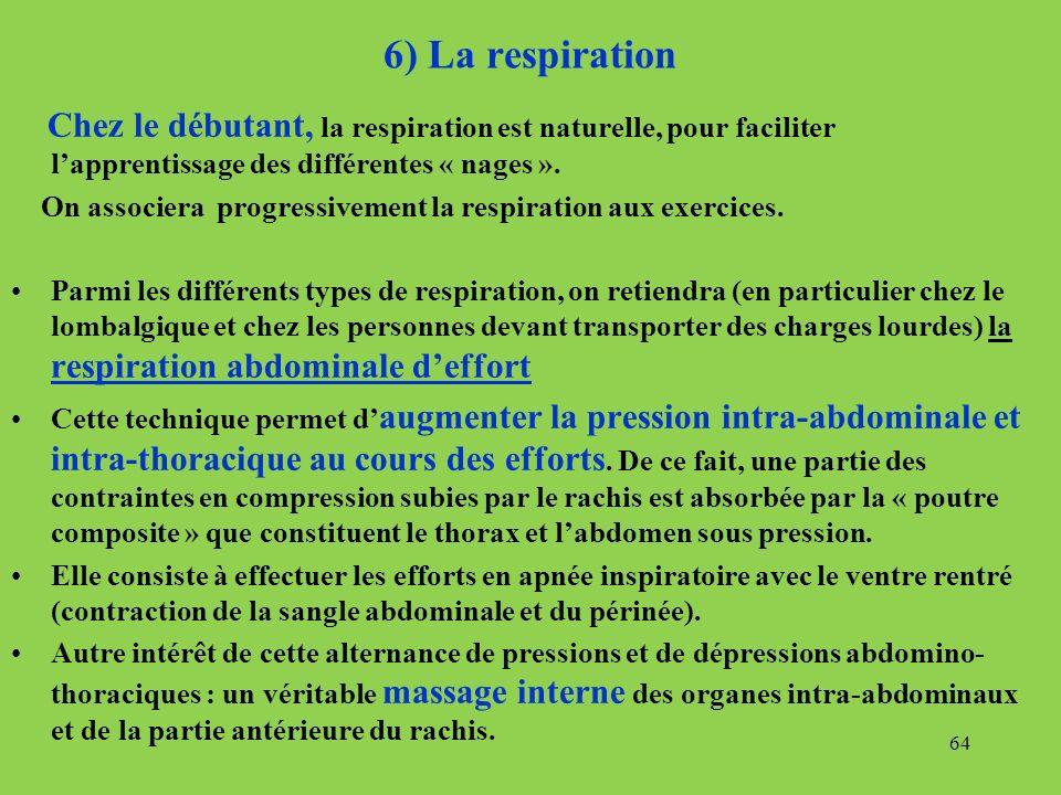 6) La respiration Chez le débutant, la respiration est naturelle, pour faciliter l'apprentissage des différentes « nages ».