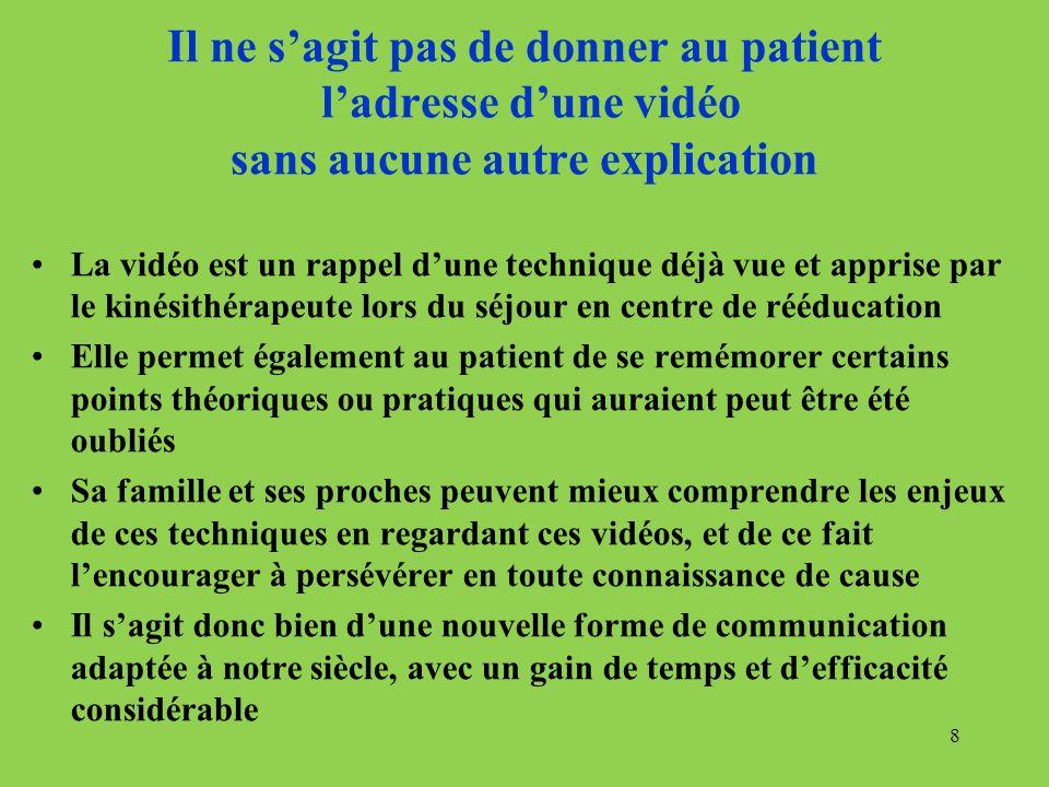 Il ne s'agit pas de donner au patient l'adresse d'une vidéo sans aucune autre explication