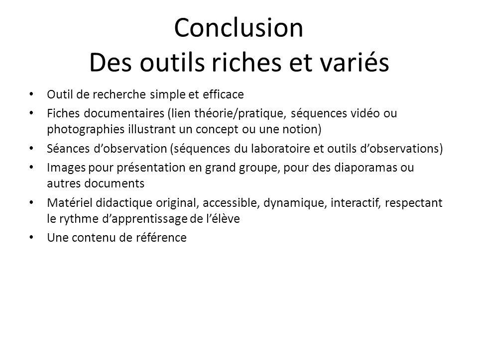 Conclusion Des outils riches et variés