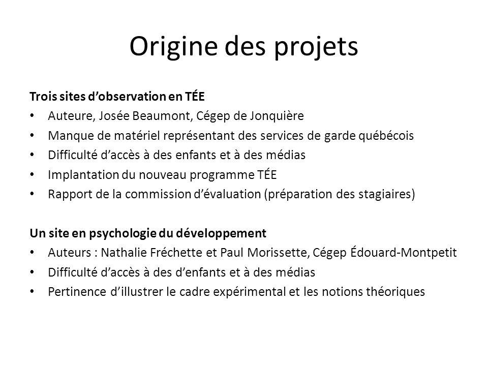 Origine des projets Trois sites d'observation en TÉE