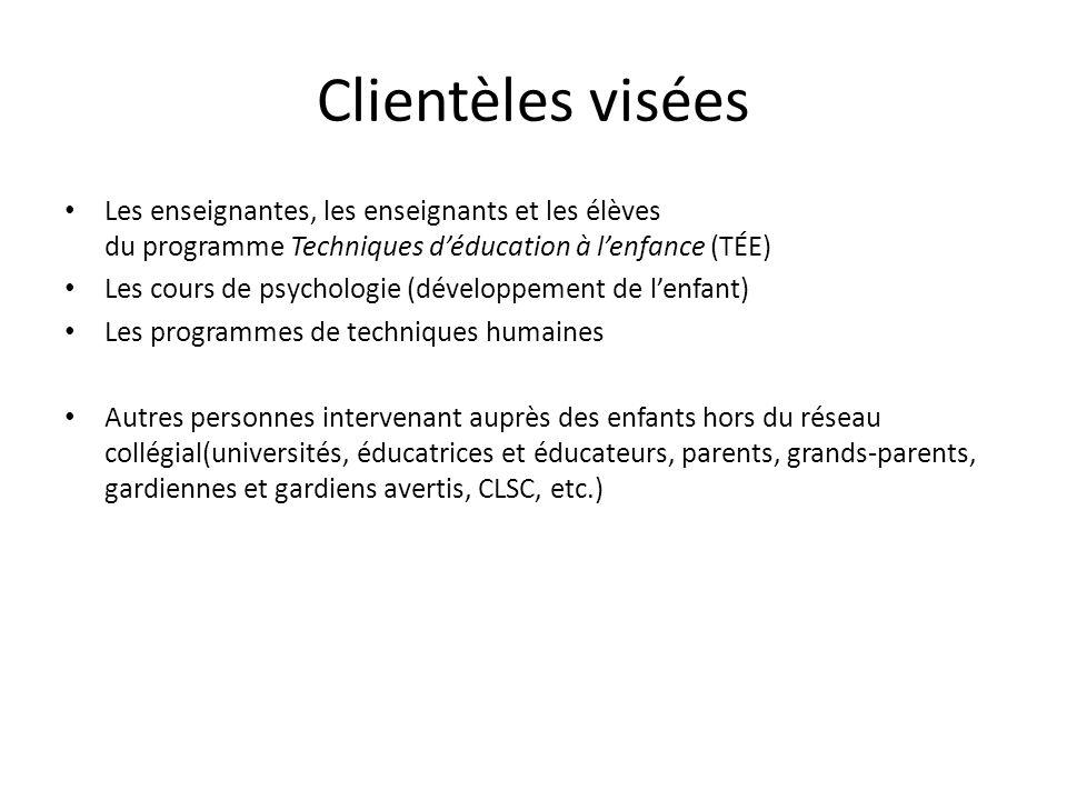 Clientèles viséesLes enseignantes, les enseignants et les élèves du programme Techniques d'éducation à l'enfance (TÉE)