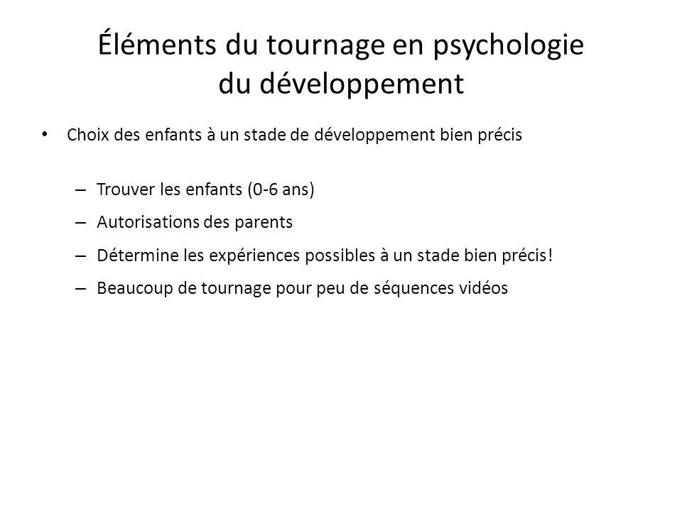 Éléments du tournage en psychologie du développement