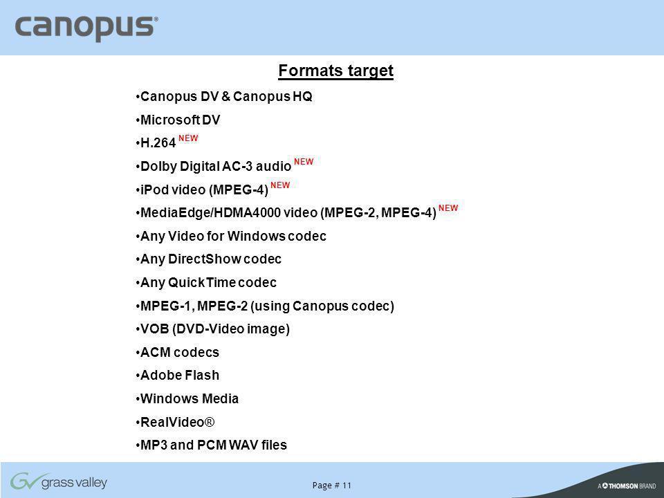 Formats target Canopus DV & Canopus HQ Microsoft DV H.264 NEW