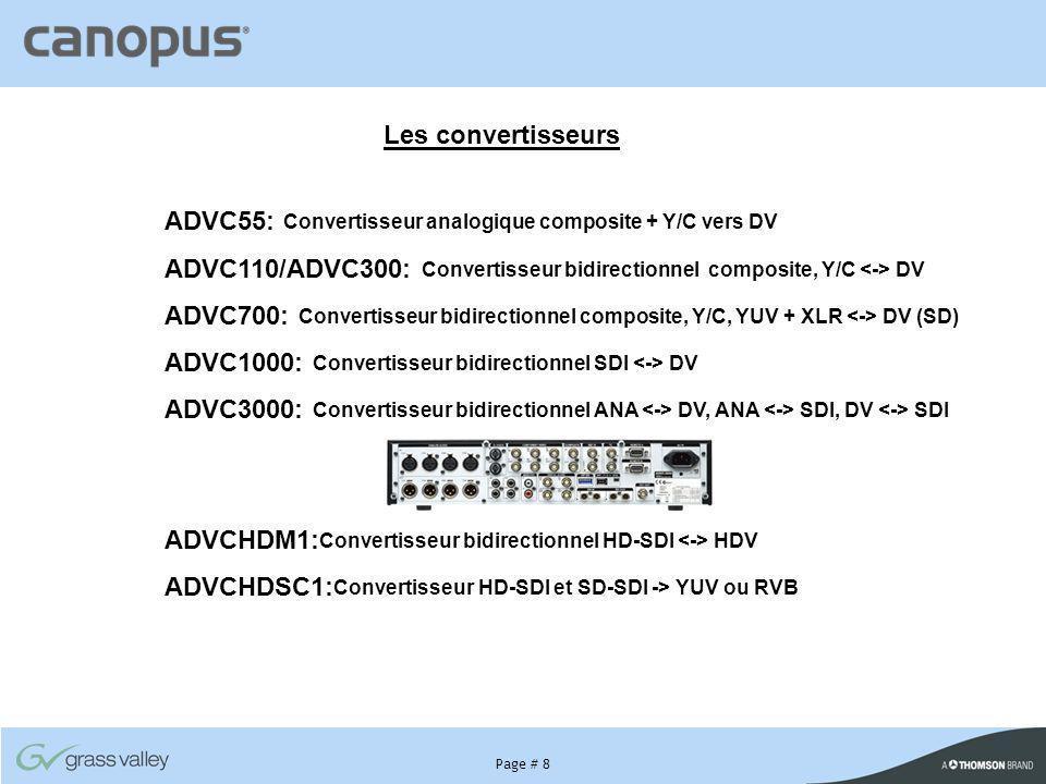 Les convertisseurs ADVC55: Convertisseur analogique composite + Y/C vers DV. ADVC110/ADVC300: Convertisseur bidirectionnel composite, Y/C <-> DV.