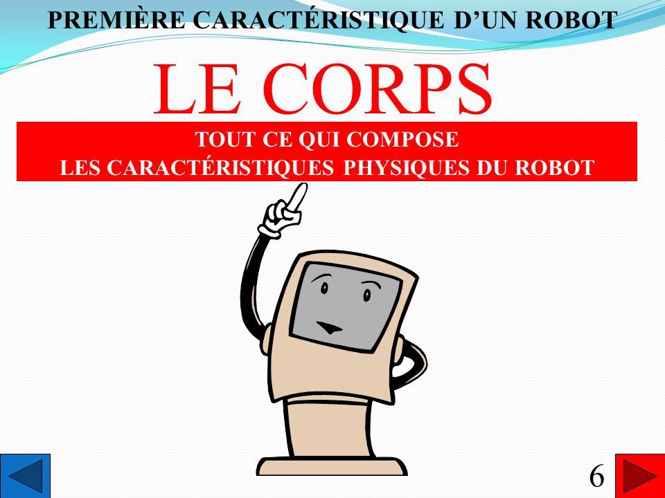 LE CORPS 6 PREMIÈRE CARACTÉRISTIQUE D'UN ROBOT TOUT CE QUI COMPOSE