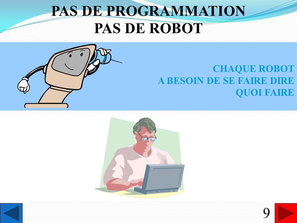 PAS DE PROGRAMMATION PAS DE ROBOT
