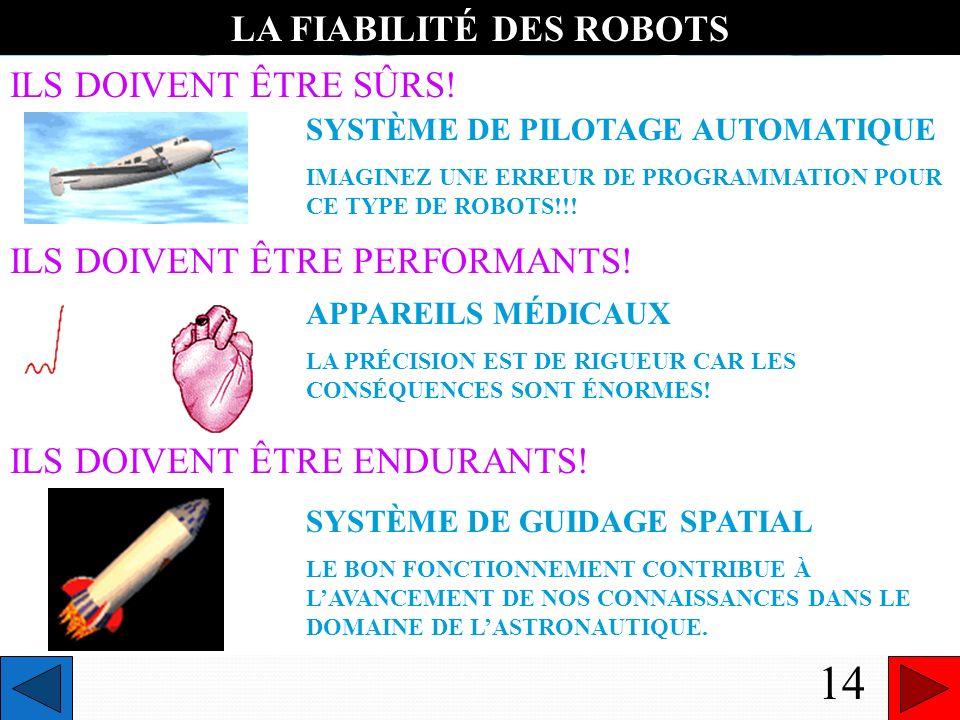 LA FIABILITÉ DES ROBOTS