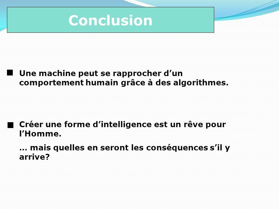 Conclusion Une machine peut se rapprocher d'un comportement humain grâce à des algorithmes. Créer une forme d'intelligence est un rêve pour l'Homme.