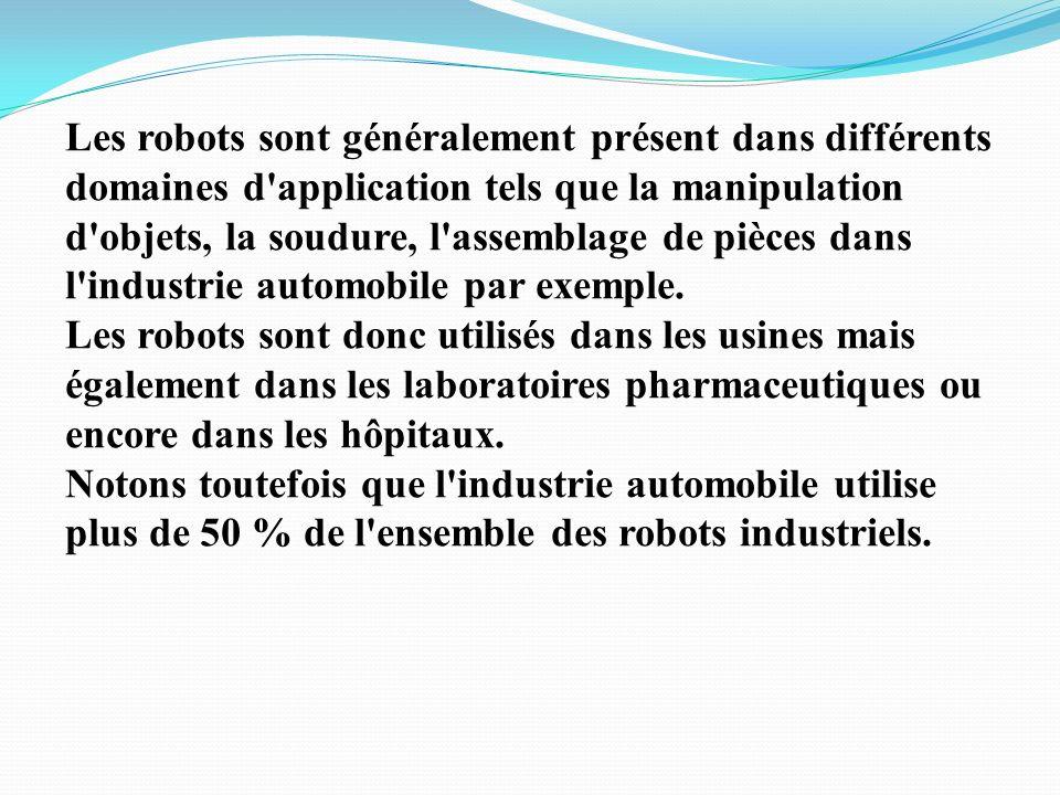 Les robots sont généralement présent dans différents domaines d application tels que la manipulation d objets, la soudure, l assemblage de pièces dans l industrie automobile par exemple.