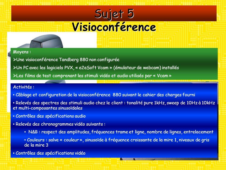Sujet 5 Visioconférence Moyens :