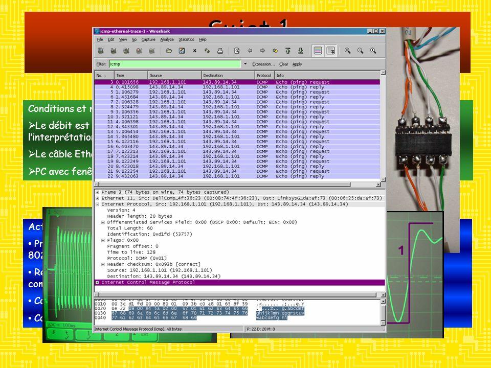 Sujet 1 Réseau Ethernet Conditions et moyens: