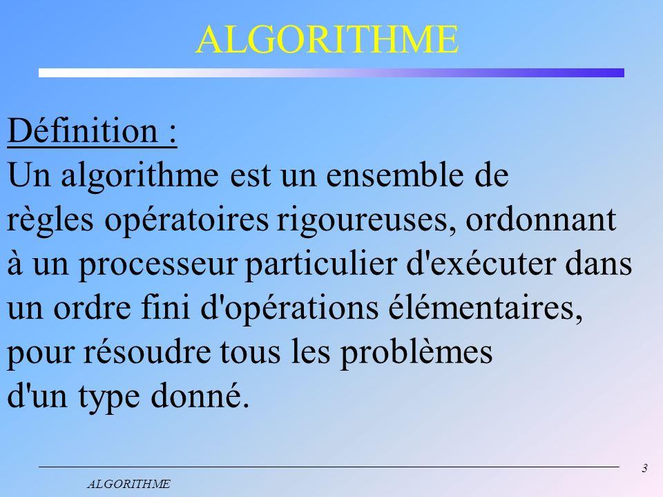 ALGORITHME Définition : Un algorithme est un ensemble de