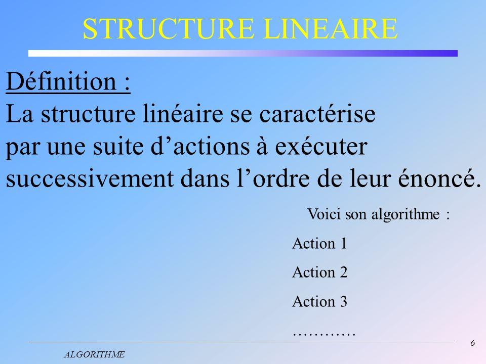 STRUCTURE LINEAIRE Définition : La structure linéaire se caractérise