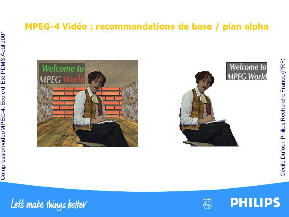MPEG-4 Vidéo : recommandations de base / plan alpha