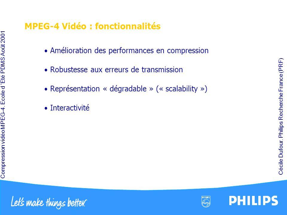 MPEG-4 Vidéo : fonctionnalités