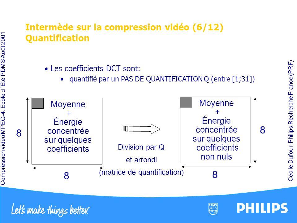 Intermède sur la compression vidéo (6/12) Quantification