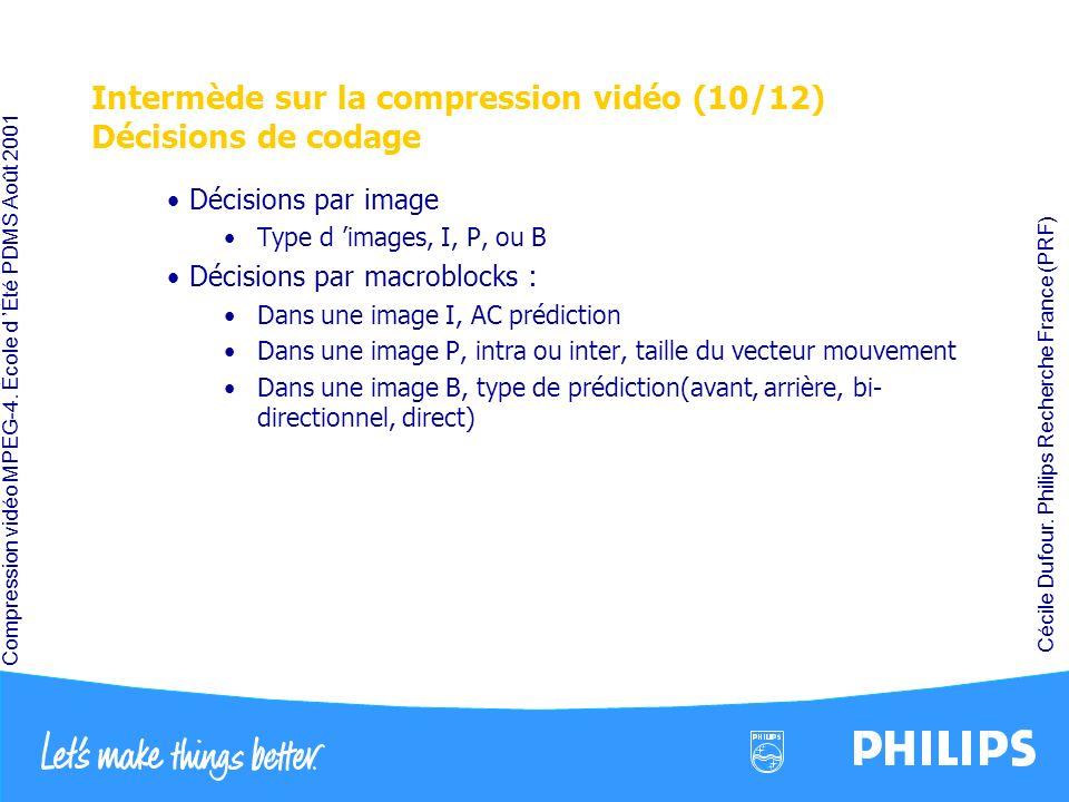 Intermède sur la compression vidéo (10/12) Décisions de codage