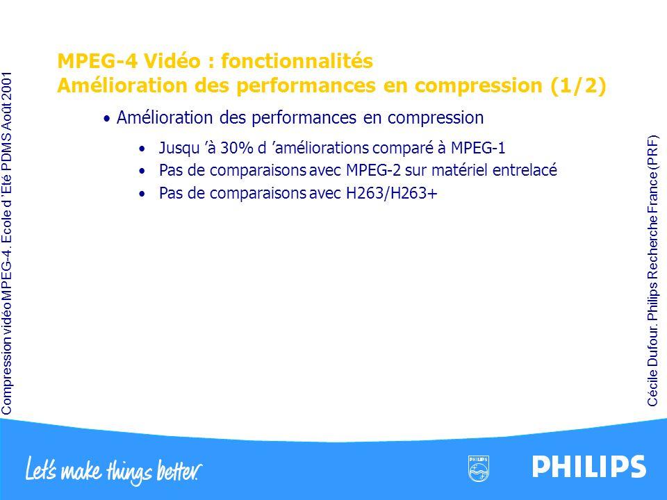 MPEG-4 Vidéo : fonctionnalités Amélioration des performances en compression (1/2)